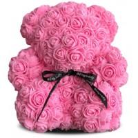 Мишка из роз 20см (розовая)