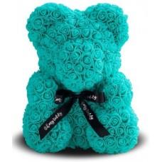 Мишка из роз 40см (голубая)