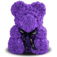 Мишка из роз 40см (фиолетовая)