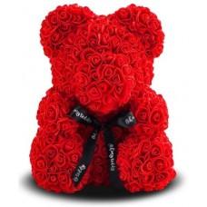 Мишка из роз 40см (красная)